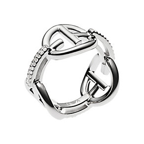 Emporio Armani sterling silver logo stone set ring M.5 - Product number 2833077
