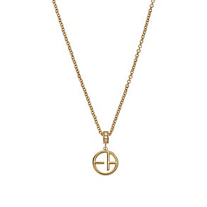 Emporio Armani Gold Tone Logo Necklace - Product number 2833093