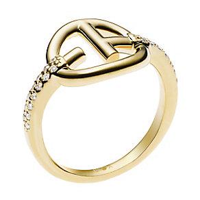 Emporio Armani Gold Tone Logo Stone Set Ring M.5 - Product number 2833107