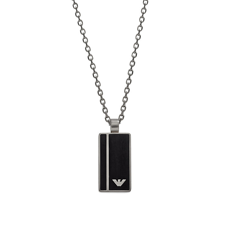 Emporio Armani Men's Black Enamel Logo Dog Tag - Product number 2833115