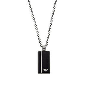 Emporio Armani Men's Black Enamel Logo Dog Tag - Product number 2833115