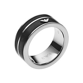 Emporio Armani men's stainless steel & enamel ring size U - Product number 2833298