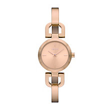 DKNY Ladies' Rose Gold Plated Reade Half Bangle Watch - Product number 2833530