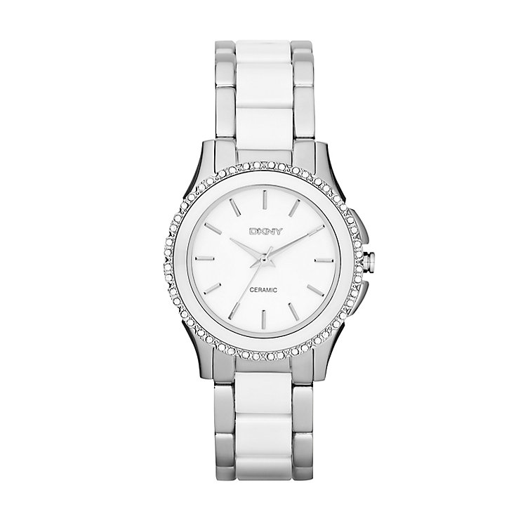 DKNY Ladies' Westside Stainless Steel & White Ceramic Watch - Product number 2833549