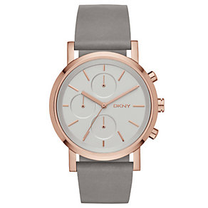 DKNY SoHo Ladies' Grey Leather Strap Watch - Product number 2833786