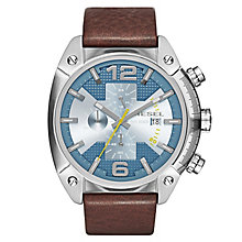 Diesel Mens Overflow Blue Dial & Brown Leather Strap Watch - Product number 2834014