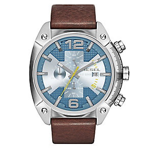 Diesel Men's Overflow Blue Dial Brown Leather Strap Watch - Product number 2834014