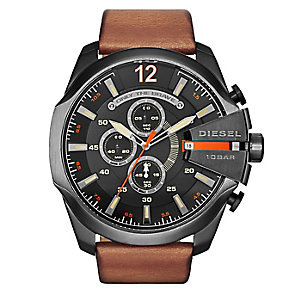 Diesel Men's Overflow Black Dial Tan Leather Strap Watch - Product number 2834022