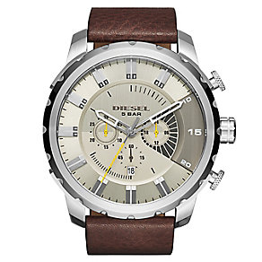 Diesel Men's Stronghold Grey Dial Brown Leather Strap Watch - Product number 2834030