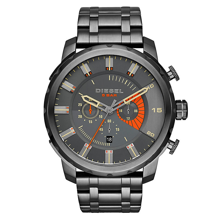 Diesel Mens Stronghold Gunmetal Dial Bracelet Watch - Product number 2834057
