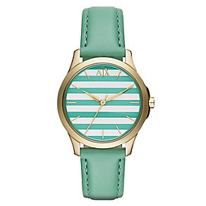 Armani Exchange Stripe Dial & Green Leather Strap Watch - Product number 2834235