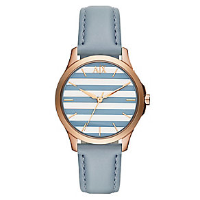 Armani Exchange Strip Dial & Pastel Blue Leather Strap Watch - Product number 2834251