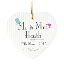 Decorative Wedding Mr & Mrs Ceramic Heart - Product number 2834316