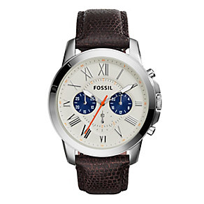 Fossil Men's Grant Chronograph Brown Leather Strap Watch - Product number 2838583