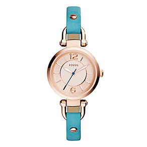 Fossil Ladies' Georgia Rose Gold Tone Blue Strap Watch - Product number 2838745