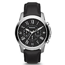 Fossil Men's Grant Silver Tone Black Leather Strap Watch - Product number 2838753