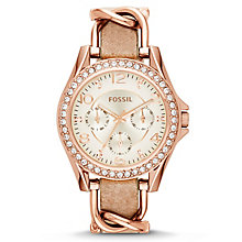 Fossil Ladies' Riley Rose Gold Tone Leather Strap Watch - Product number 2838818