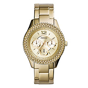 Fossil Ladies' Stella Yellow Gold Tone Stone Set Watch - Product number 2838826