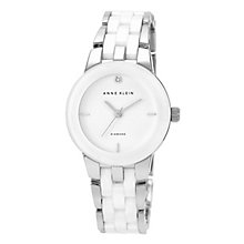 Anne Klein Ladies' Diamond, Steel & White Ceramic Watch - Product number 2839385