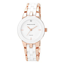 Anne Klein Ladies' Diamond, Rose Tone & White Ceramic Watch - Product number 2839393