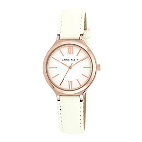 Anne Klein Ladies' Rose Gold Tone & White Leather Watch - Product number 2840340
