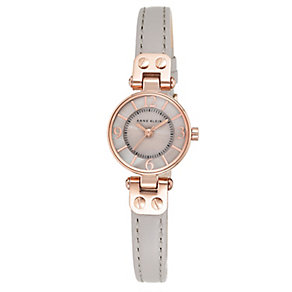 Anne Klein Ladies' Rose Gold Plate & Mink Leather Watch - Product number 2840359