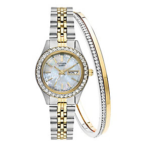 Citizen Ladies' Crystal Two-Tone Watch & Bracelet Set - Product number 2840561