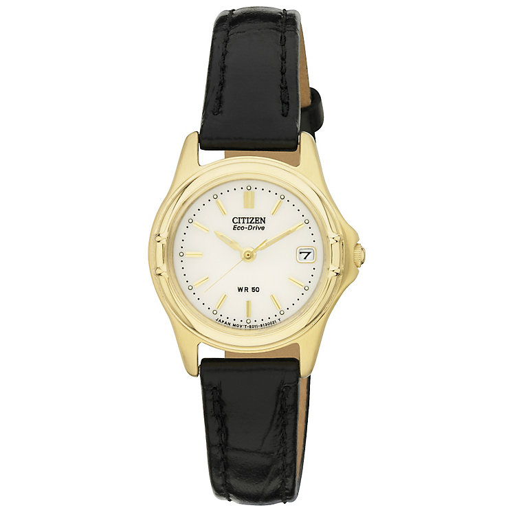 Citizen Ladies' Eco-Drive Black Leather Strap Watch - Product number 2840618
