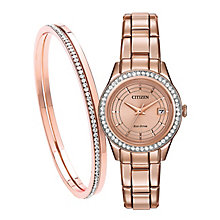 Citizen Ladies' Rose Gold Plated Bracelet Watch & Bangle Set - Product number 2840634