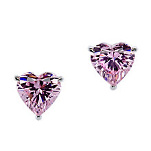 CARAT* 9ct white gold, pink heart shaped stud earrings. - Product number 2840790