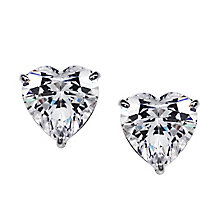 CARAT* 9ct white gold, heart shaped stud earrings. - Product number 2840812