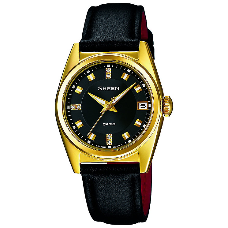 Casio Sheen Ladies Yellow Gold Tone & Black Leather Watch - Product number 2840820
