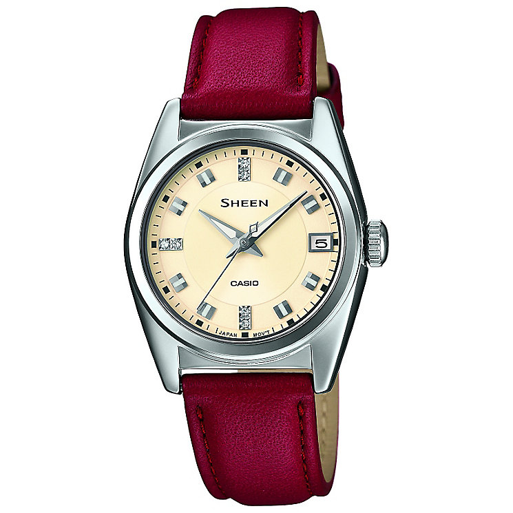 Casio Sheen Ladies Stainless Steel & Fuchsia Leather Watch - Product number 2840847