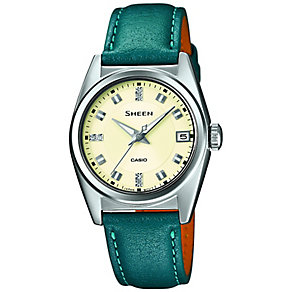 Casio Sheen Ladies Stainless Steel & Teal Leather Watch - Product number 2840855