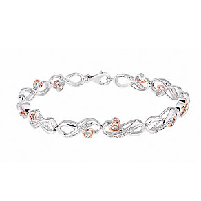 Silver & 9ct Rose Gold Diamond Infinity Heart Bracelet - Product number 2840871