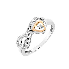 Sterling Silver & 9ct Rose Gold Diamond Infinity Heart Ring - Product number 2840898