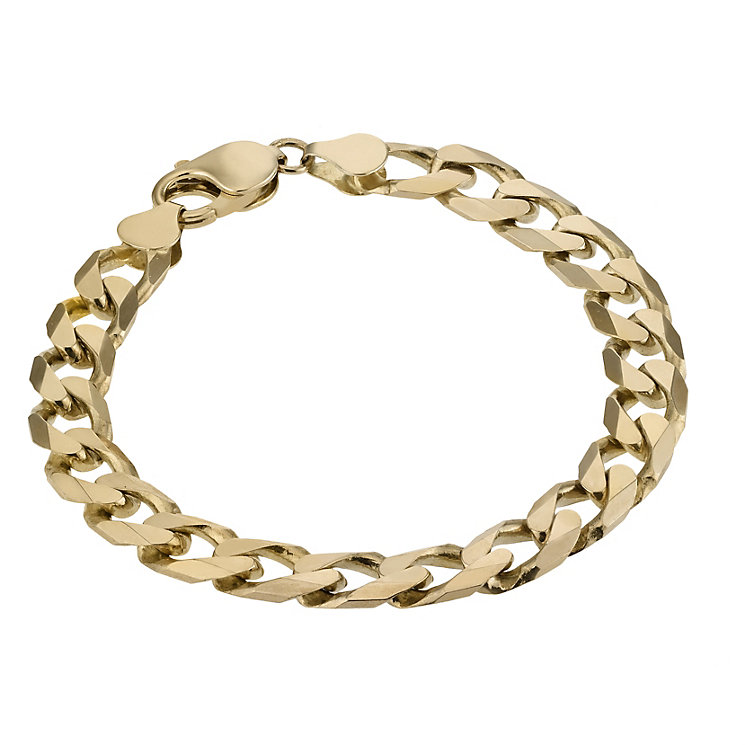 Men's 9ct Gold Solid Curb Bracelet - Product number 2843323
