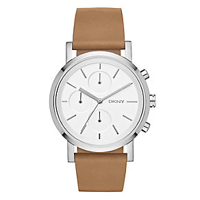 DKNY Soho ladies' stainless steel brown leather strap watch - Product number 2845814