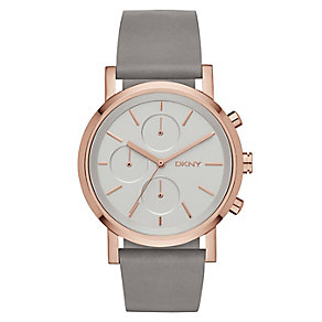 DKNY Soho ladies' rose-gold plated grey leather strap watch - Product number 2845830