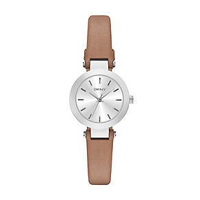 DKNY ladies' stainless steel brown leather strap watch - Product number 2845873