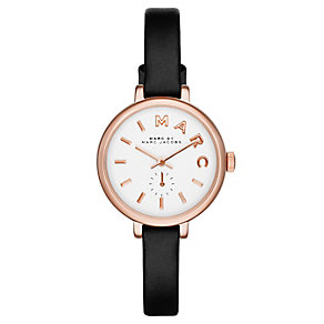 Marc Jacobs Sally ladies' rose gold-plated black strap watch - Product number 2846004