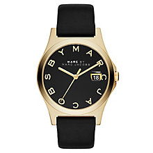 Marc Jacobs Ladies' Gold Tone Black Leather Strap Watch - Product number 2846020