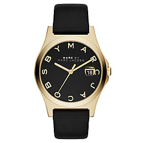 Marc Jacobs ladies' gold-plated black leather strap watch - Product number 2846020