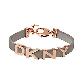 DKNY Ladies' Rose Gold Tone & Grey Leather Bracelet - Product number 2846535