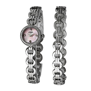 Rotary Ladies' Pink Mother of Pearl Bracelet Watch Set - Product number 2848597