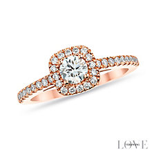 Vera Wang 18ct rose gold 72pt round cut diamond halo ring - Product number 2849275
