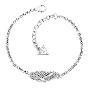 Guess Rhodium Plated Silver Tone Feather Bracelet - Product number 2852780