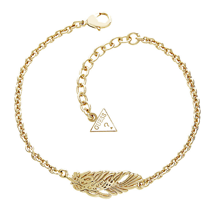 Guess Yellow Gold Plated Feather Bracelet - Product number 2852799