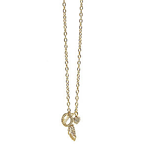 Guess Yellow Gold Plated Feather Heart & Logo Drop Pendant - Product number 2852802