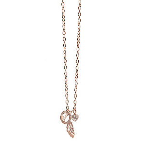 Guess Rose Gold Plated Feather Heart & Logo Drop Pendant - Product number 2852810